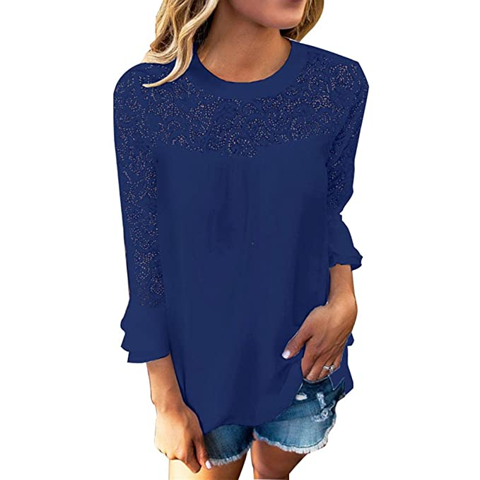 BAINASIQI Mujer Camiseta Blusa de Manga Larga en Crepes de Encaje (S, Azul)