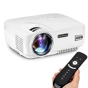 AUN 1400 Lúmenes Android Proyector, con WiFi Bluetooth LED Proyector, Para cine en casa Miracast Airplay EZCast, Portable Multimedia Película ...