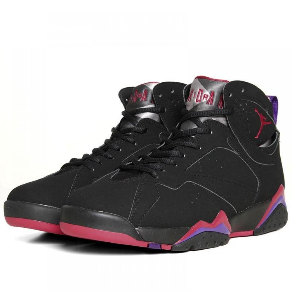 cheap for discount 88f17 3524c Jordan Air 7 VII Retro Raptors Men's Basketball Shoes Black/True Red/Dk.  Charcoal/Club Purple 304775-018 (9.5)