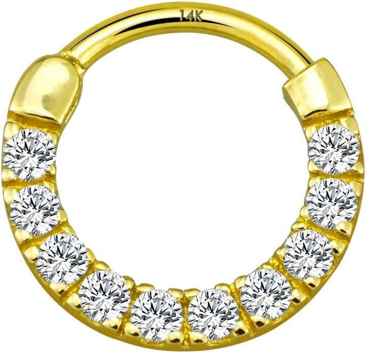 Rose Gold Conch Earring Bee Septum Clicker Solid Gold  Piercing Bee Hoop Ear Cuff 14G 14k Helix Earring  16G Cartilage Jewelry 18G