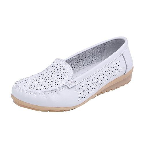 Zapatillas de Cuero para Mujer Otoño 2018 Zapatos de Plano de Dama PAOLIAN Senderismo Casual Náuticos Talla Grande Cómodo Calzado de Trabajo Cuña de Moda ...