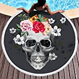 Sleepwish Skull Beach Towel Round Flower Skull Tapestry Gothic Table Cloth Round Yoga Mats Beach Roundies (Red Rose, 60'')