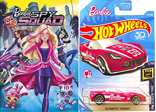- Corvette Barbie Animated Movie Toy Pack Girls Fun Cartoon DVD Spy Squad + Hot Wheels Pink Convertible car