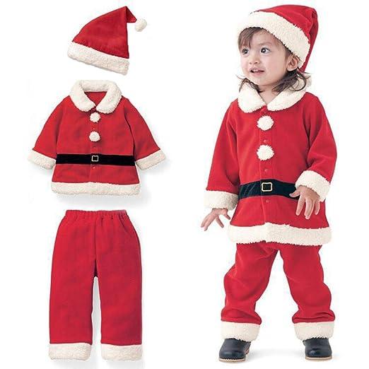 46d1638e581a0 Amazon.co.jp: サンタクロース 仮装 衣装 クリスマス装束 帽子付き 撮影衣装 子供用 3点セット 男の子 女の子 90cm   ベビー マタニティ