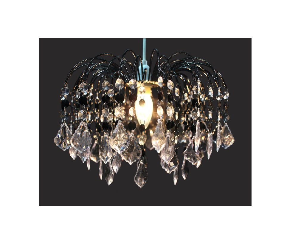 46e0ae73625 Chandelier Chic Ceiling Light Pendant Shade Crystal Droplet Fitting Easy Fit  (Large Metal Shade Dark larger image
