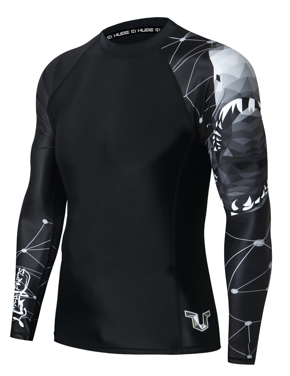 HUGE SPORTS Wildling Series UV Protection Quick Dry Compression Rash Guard (Shark,XS) by HUGE SPORTS