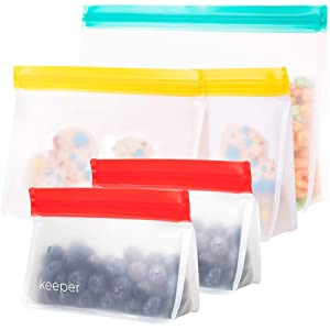 Keeper Reusable Sandwich Bags (5 Kit Pack) - Premium Reusable Snack Bags For Kids. Airtight Ziplock Lunch Baggies Keep Food Fresh! Freezer Safe Bag - For Travel, Make-Up, Home Storage Organization