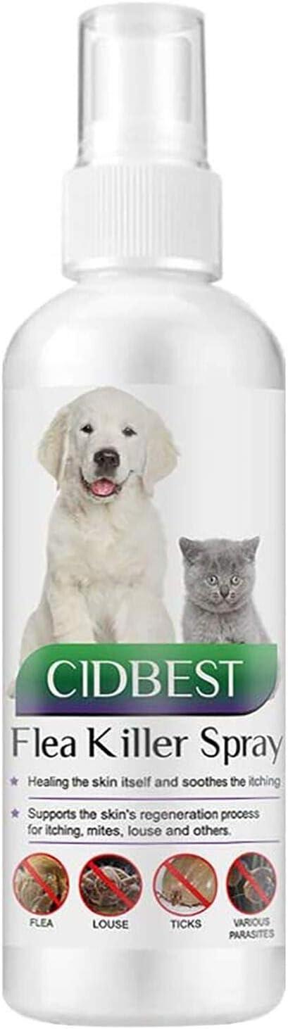 CIDBEST Flea Spray,Pulgas Spray,Anti Pulgas,Spray de protección contra pulgas, Spray Repelente de pulgas de Ingredientes Naturales para Perros Pulgas Garrapatas