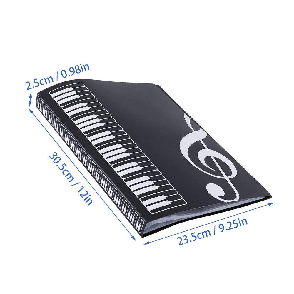40 bolsillos tama/ño A4 ZZM Carpeta para partituras negro