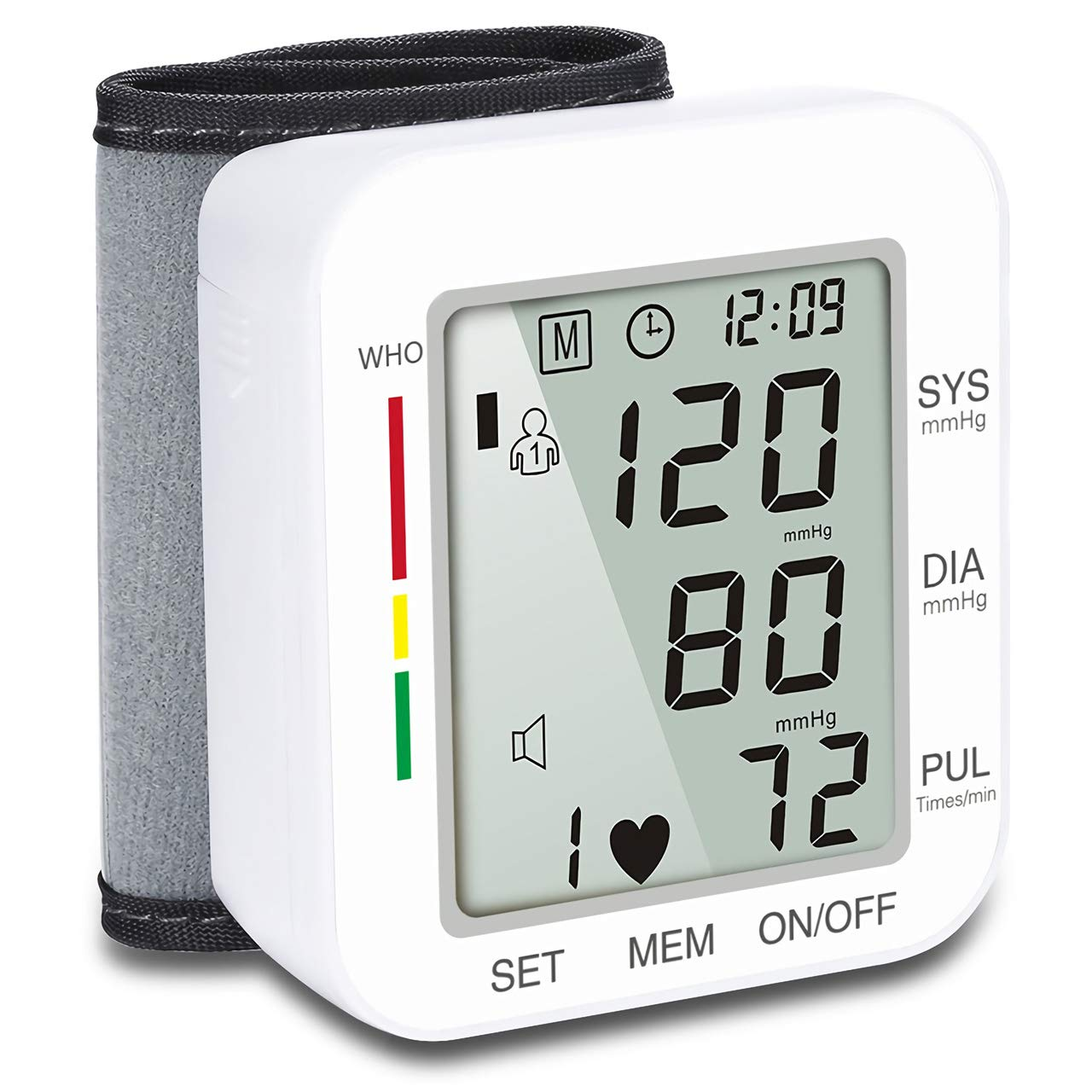 HongS Automatic Wrist Blood Pressure Cuff Monitor Health Monitor with Large LCD Screen & Voice Broadcast Irregular Heartbeat Monitor for Home Use