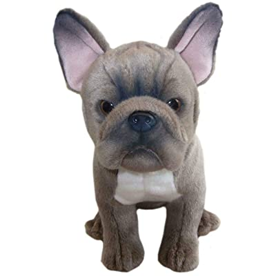 sawley fine arts Plush Dog Grey French Bulldog - Soft Cute Toy Collectible Pet 12'' Sitting Dog: Toys & Games