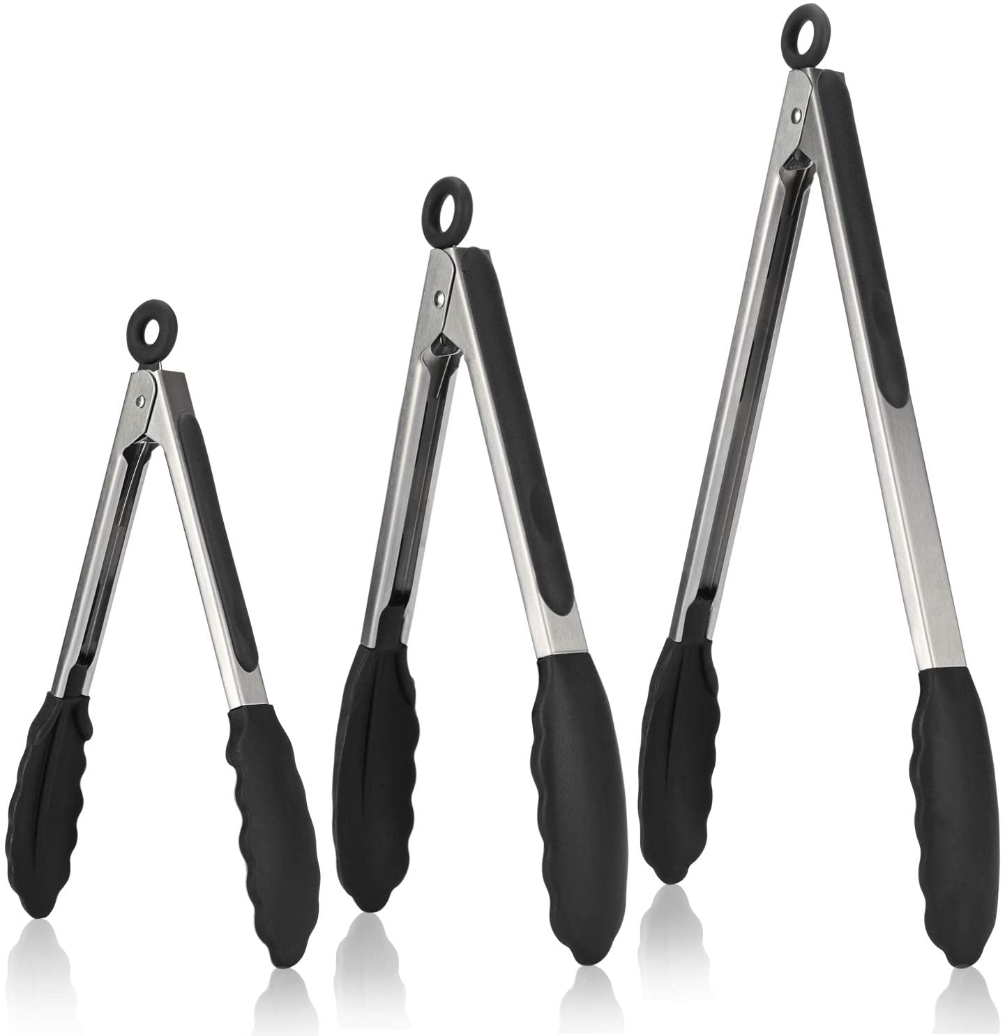 Kitchen Tongs, U-Taste 7/9/12 inches Cooking Tongs, with 480ºF High Heat-Resistant Non-Stick Silicone Tips&18/8 Stainless Steel Handle, for Food Grill, Salad, BBQ, Frying, Serving, Pack of 3 (Black)
