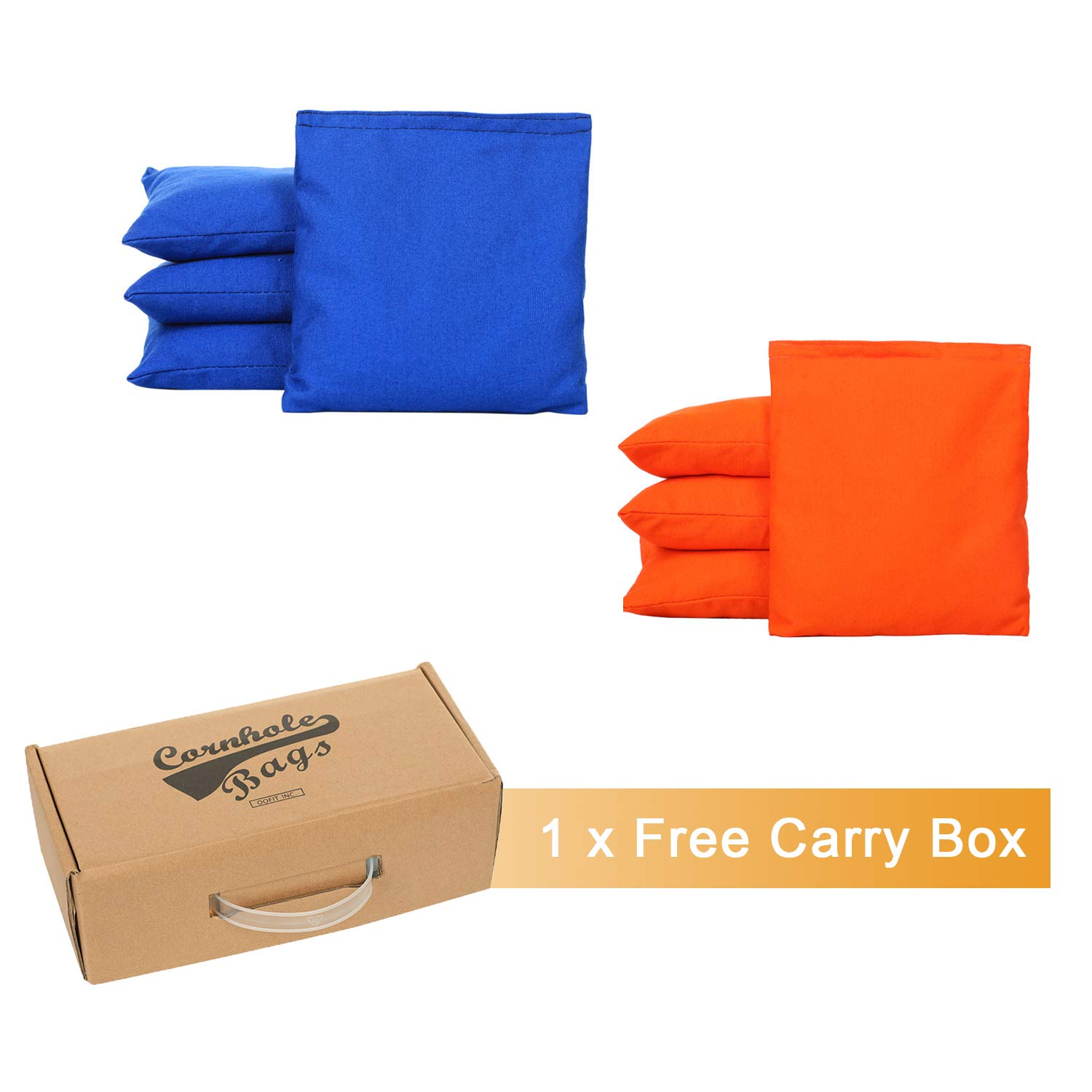 OOFIT Cornhole Bean Bags Set of 8 Weather Resistant for Tossing Corn Hole Game with Carrying Box (Navy Blue, Orange)