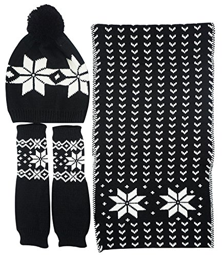 Winter Accessories Set - Bienvenu Women's Snowflake Hat Gloves and Scarf Winter Set,Black
