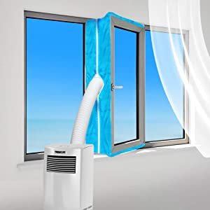 gulrear Portable Air Conditioner Window Seal, Portable AC Window Kit, Airlock Window Seal for Portable Air Conditioner, Hot Air Stop Air Exchange Guards with Zipping and Adhesive Fastener