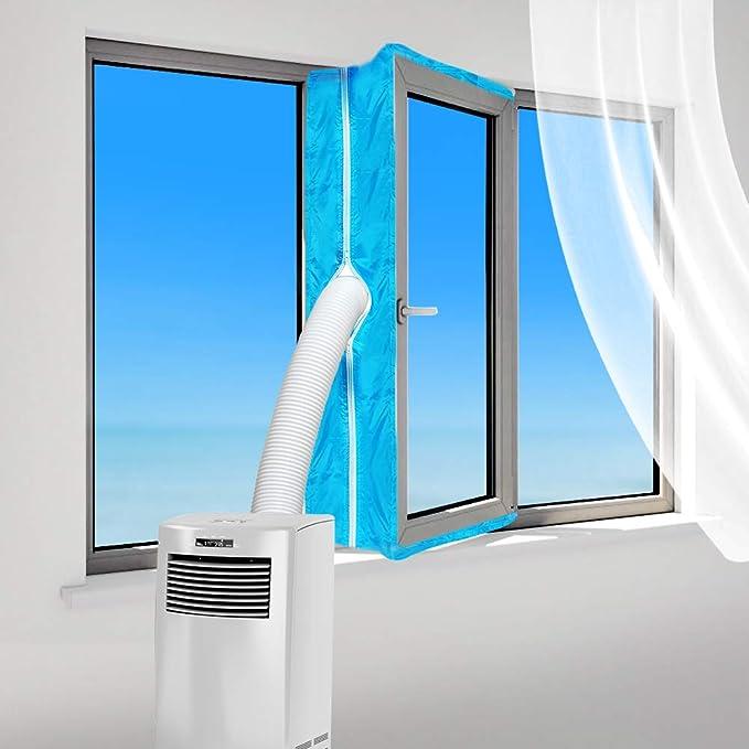 300cm Fensterdichtung f/ür Tragbare Mobile Klimaanlage Fensterl/üftungssatz f/ür W/äschetrockner-Luftaustauschschutz mit Rei/ßverschluss und Hakenband