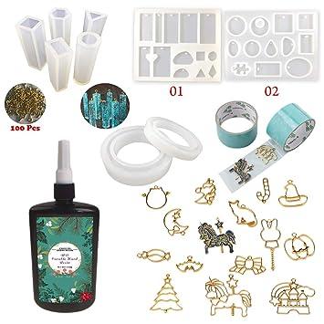 c1005be60685 250g Resina Epoxi UV Transparente Rápido + 9 Moldes + 100 Ojales para  Collares + 14