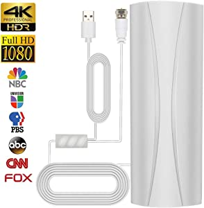 2020 Newest Amplified HD Digital TV Antenna, 150 Miles Range HDTV Antenna with 36ft Long Coax Cable Support All Television,Outdoor/Indoor TV Antenna for Free Local Channels 4K HD 1080P VHF UHF (White)