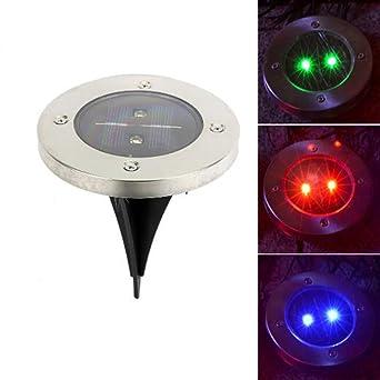 Luniquz 3leds Lampe Solaire Au Sol Sans Fil Projecteur Led Solaire