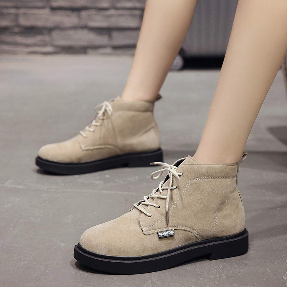 for Shoes,AIMTOPPY Female Round Head Suede with Lace-Up Warm Ankle Boots