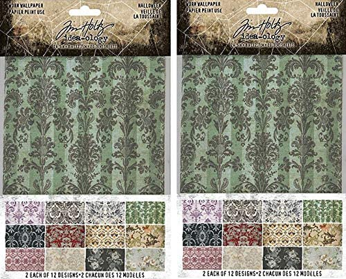 Tim Holtz Idea-Ology 2020 Worn Wallpaper, Halloween - Bundle of Two Packages