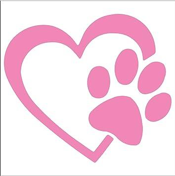 Pet Decals Calcomanía Para Mascotas Diseño De Huellas De Perro Y Corazón 4 Rosado Claro Automotive