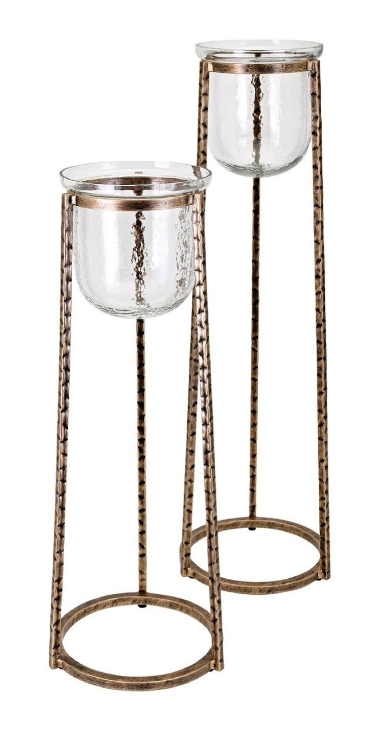 CC Home Furnishings 34'' Bronze Brown and White Glass Pillar Floor Candle Holder