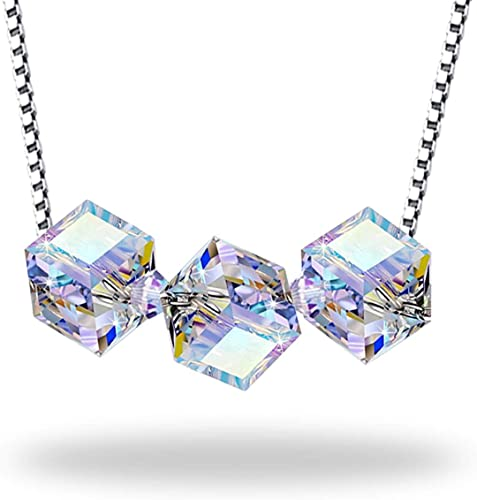 B.BOXX Collier Cristal Cube, Perles Cube Cristal Aurora Borealis de  Swarovski sur l'argent sterling 925 Chaîne de collier, Cadeaux de Noël  parfaits