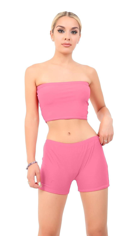 69e0921093 Crazy Chick Ladies Women Pink Hot Pants   Boob Tube Bandeau Crop Vest Top  Bra Summer Mini Short   Shirt  Amazon.co.uk  Clothing