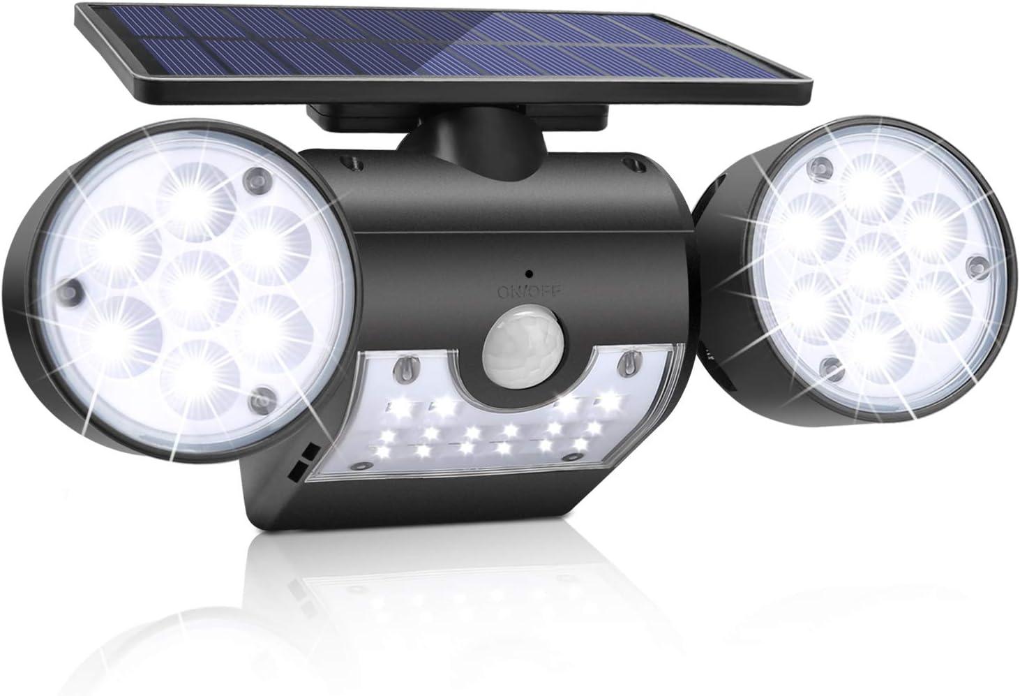 Solar Lights Outdoor,KeShi Solar Security Lights with Motion Sensor 360° Adjustable Dual Head Spotlights, IP65 Waterproof, Rotatable Solar Motion Security Night Lights for Outdoor Pation Yard Garden