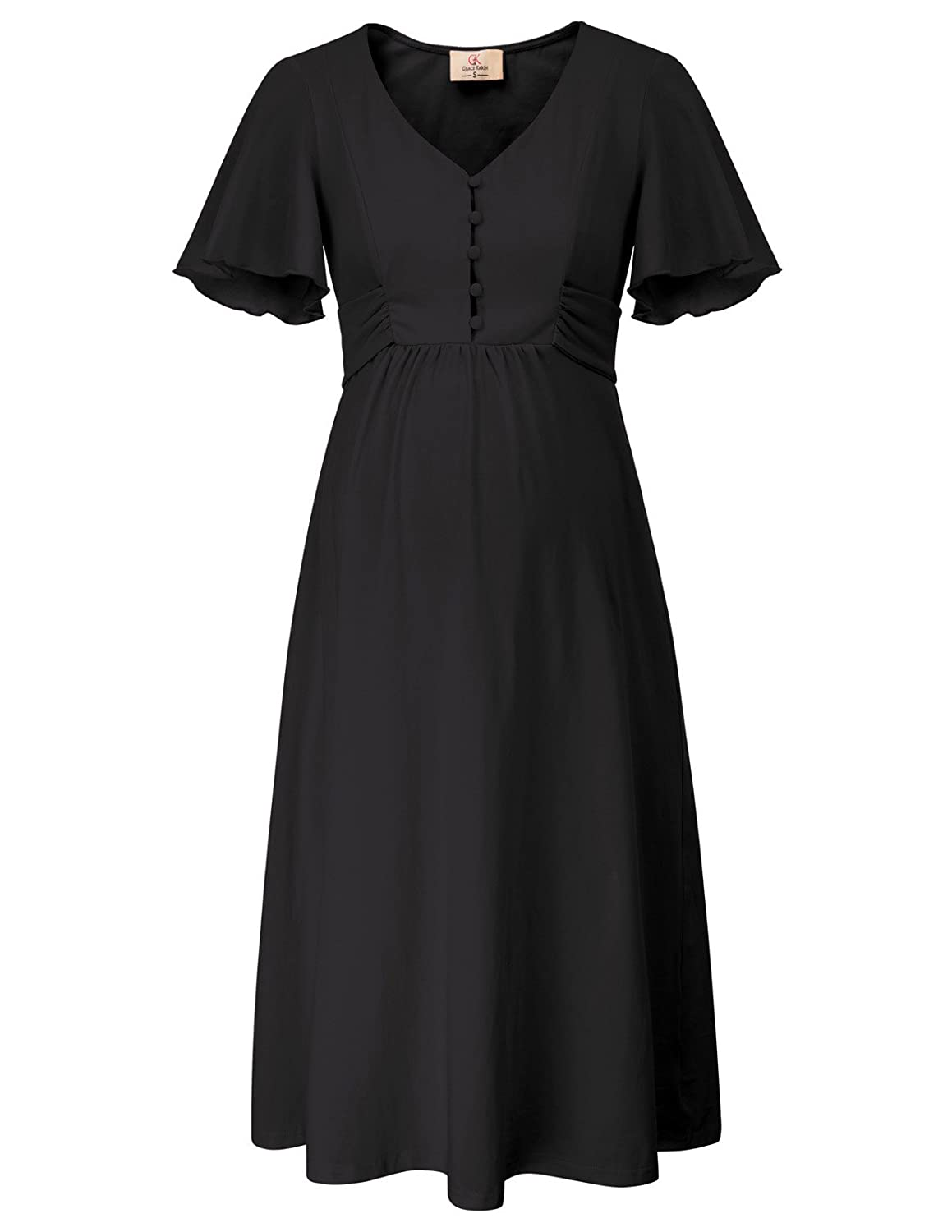 Vintage Maternity Clothing Styles 1910-1960  Maternity Short Sleeve Cotton A-Line Dress with Buttons GRACE KARIN Womens $26.99 AT vintagedancer.com