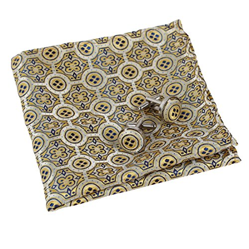EEF7B04A Light Yellow Paisley Relationships Handkerchief Woven Microfiber Formal Mens Cufflinks Set Wear Pocket Square By Epoint