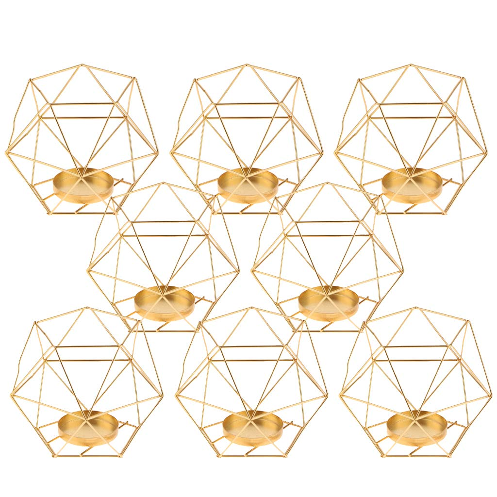 D DOLITY 8-Set Geometric Polished Tealight Candle Holder Table Top Centerpiece Weddings Events Parties Decor Rose Gold
