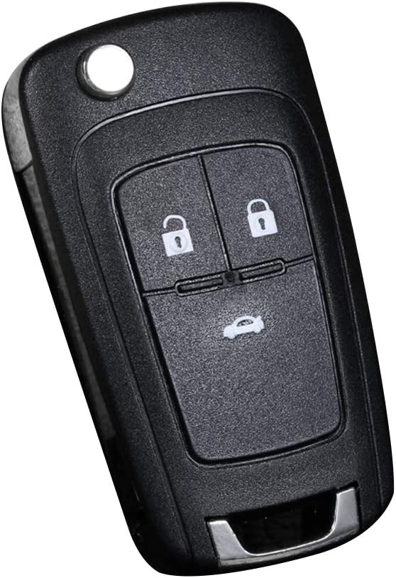 collectsound 2/3 Botones Flip Key Shell Fit para Chevrolet Remote Key Case Fob Reemplazo, Ver Imagen, 3 Buttons