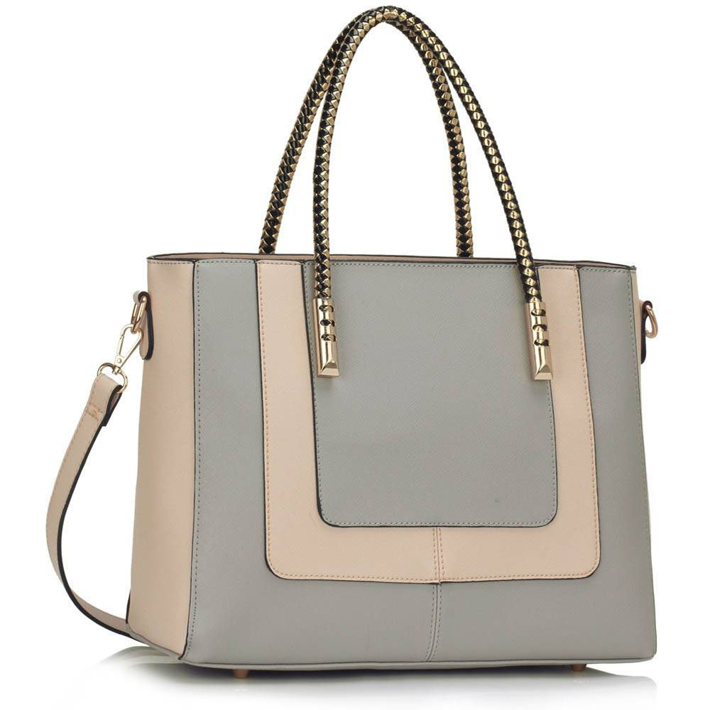 2542dd8c53 Womens Designer Handbags Ladies New Fashion Faux Leather Trendy Shoulder Tote  Bags Celebrity Style Bags For Girls (Grey Nude Fashion Bag)  Amazon.co.uk   ...
