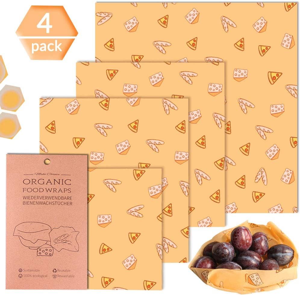 Obst Bienenwachst/ücher Wachspapier f/ür Lebensmittel Alternative zu Einweg Plastikverpackungen Beeswax Wraps Aufbewahrung von K/äse 4er Set fruchte muster Gem/üse,Brot 1*Gro/ß +2*Mittel+ 1*Klein