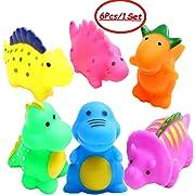 J-BgPink Bathtub Toys Dinosaur Baby Bath Toys Christmas Kids Fun Squirt Toys Floating Bathroom Toys Assorted Colors 6PCS