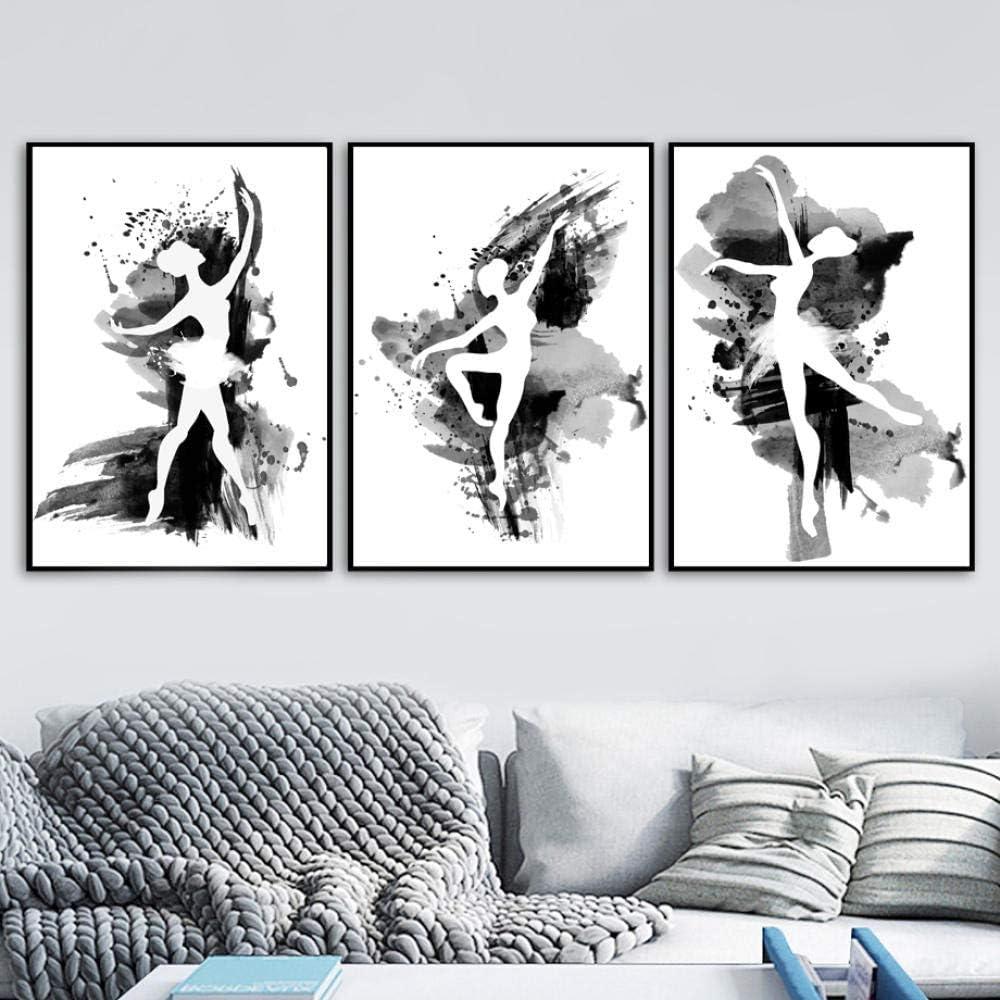 YDHP Bailarina de Ballet Carteles e Impresiones n/órdicos en Blanco y Negro Arte de la Pared Pintura en Lienzo Cuadros de Pared Habitaci/ón de ni/ña Decoraci/ón de dormitorio-40x60cmx3 Piezas sin Marco