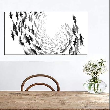 WZYWLH Black White Fishes Lienzos Pósteres Minimalista Arte ...