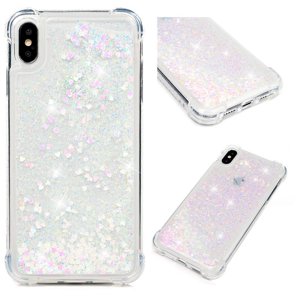 iPhone Xs Max Case, Clear Liquid Glitter Case Bling Shiny Sparkle Flowing Moving Love Hearts Crystal Cover Ultral Slim Protective TPU Bumper Shockproof Drop Resistant Quicksand Case for iPhone Xs Max