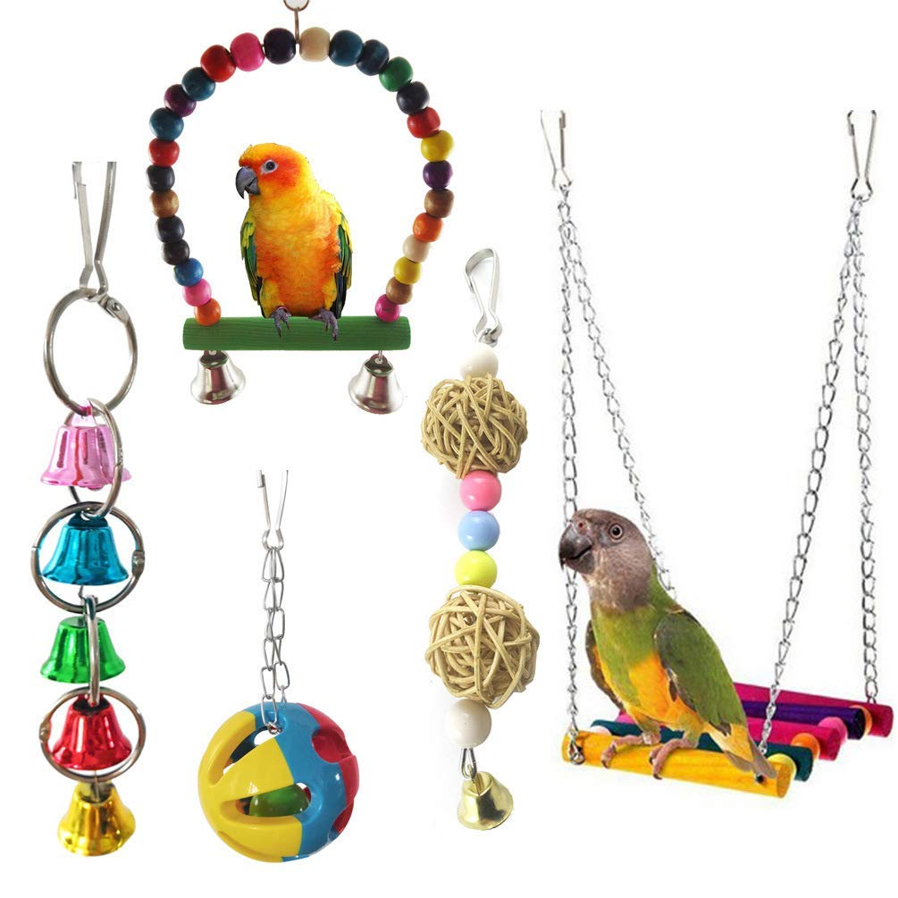 Bird Parrot Cage Toy, Bird Swing Hanging Toys with Colorful Wood Bells Balls, 5pcs Premium Quality by Yevison