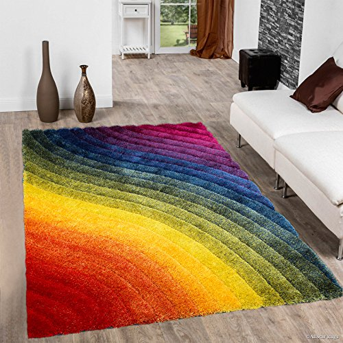Allstar 8 X 11 Rainbow Modern Soft 3D Wavy Design Area Rug (7' 6