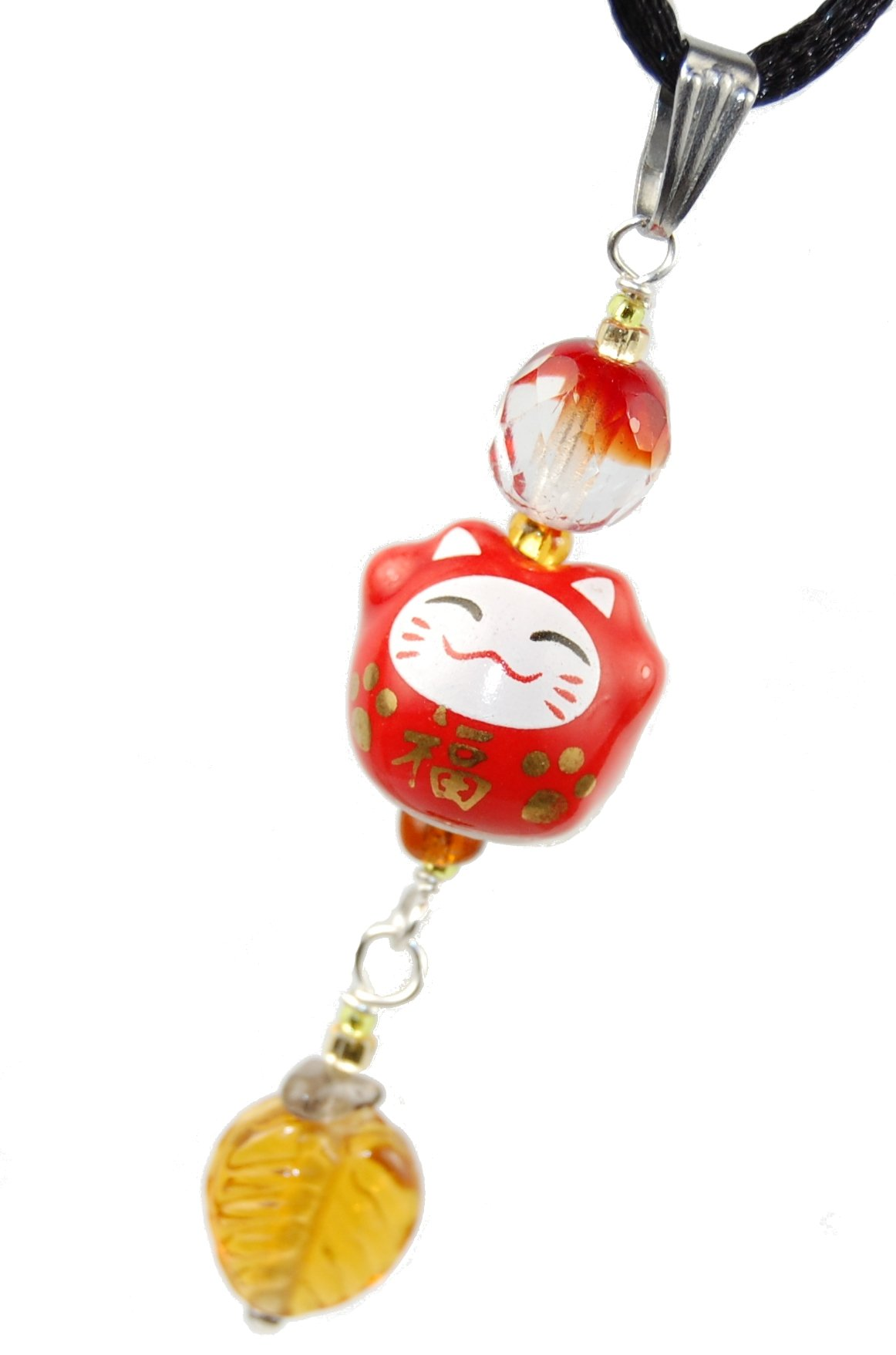 12V StreetGear Ceramic Series - Red Daruma Cat w/Luck Kanji & Leaf : Ceramic & Metallic Gold Maneki Neko Cat Pendant Lucky Charm 1.96'' (50mm) - Black Adjustable Necklace 20-24'', Stainless Steel Bail
