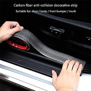 Venga Amigos Auto Einstiegsleisten Aufkleber 2m Karbonfaser Pedal Schwelle Carbon Faser Sill Scuff Schutz Kratzfeste Aufkleber Für Auto Door Sill Schwarz Auto