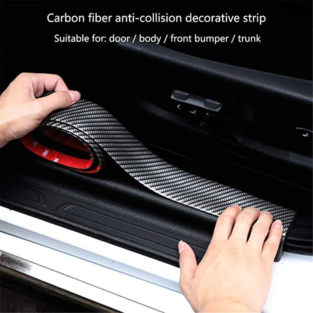 2 Meters Carbon Fiber Car Door Sill Scuff Guard Pedal Protector Scuff Plate Sticker Anti-Kick Scratch with Strong Adhesive and Scraper Door Sill Protectors for Cars 1pcs 5 * 100cm + 1pcs 7 * 100cm MUXItrade .