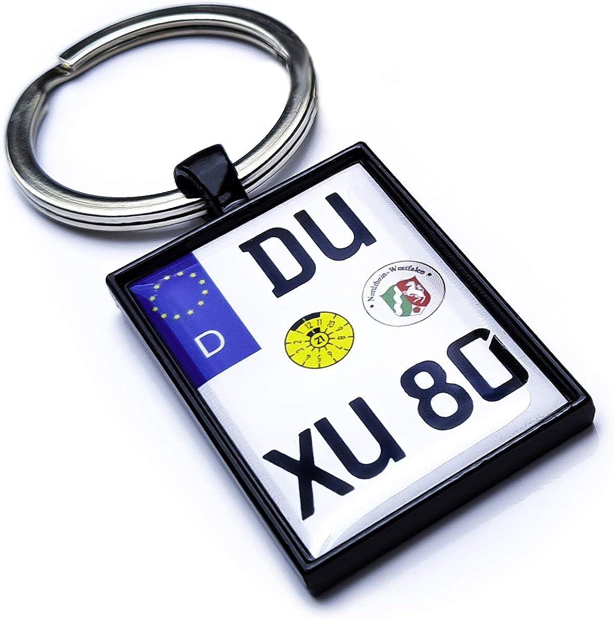 Internetservice Timo Lindner Schl/üsselanh/änger mit personalisiertem Motorradkennzeichen Schwarz Nummernschild Motorrad Personalisiert Individuell