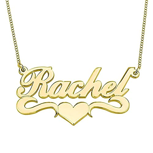 AOCHEE Personalized Names Necklace Monogram Letter Pendant Love Heart  Nameplate Necklace