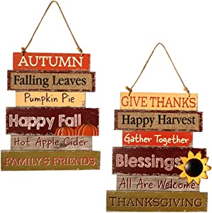Hanizi Thanksgiving and Harvest Blessings Decorative Signs Plaques Fall Decoration Wooden Hanging Welcome Sign, 14 inches, Set of 2