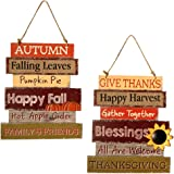 Hanizi Thanksgiving and Harvest Blessings Decorative Signs Plaques Fall Decoration Wooden Hanging Welcome Sign, 14…