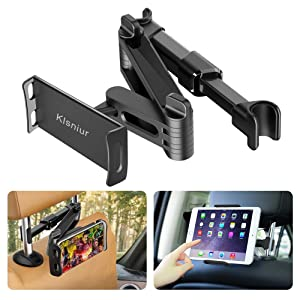 "Car Headrest Mount/Tablet Holder Car Backseat Seat Mount/Tablet Headrest Holder Universal 360° Rotating Adjustable for All 6""-10.5"" Tablet iPad iPad Air iPad Mini,Samsung Galaxy,Cell Phones 4.5""-8"""